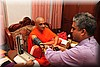 The Doctor monitoring Acharya Swamishree's blood pressure.