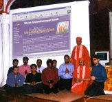 Acharya Swamishree with Gyandivakardasji Swami and members of the website design team