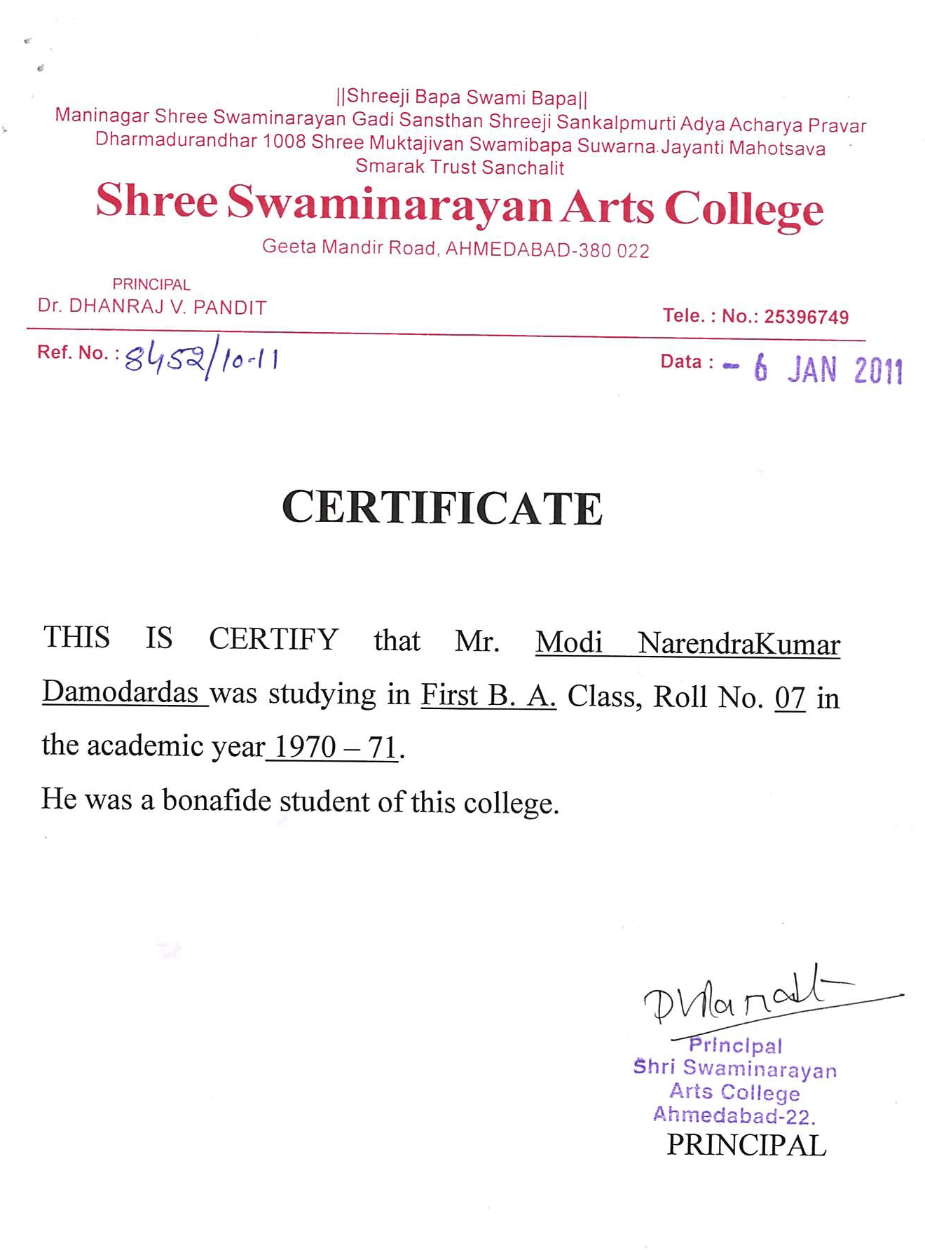 Document certifing Shri Narendra Modi as a student of Shree Swaminarayan Arts College
