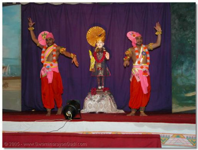 Before the start of the drama production the sants perform a classical dance to please Lord Swaminarayanbapa Swamibapa