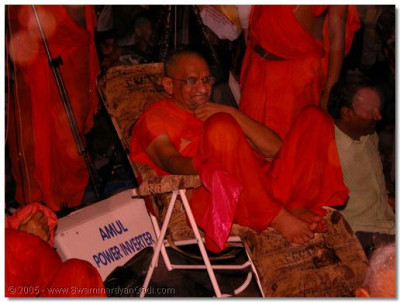 The rain gods get the opportunity to do darshan of Acharya Swamishree