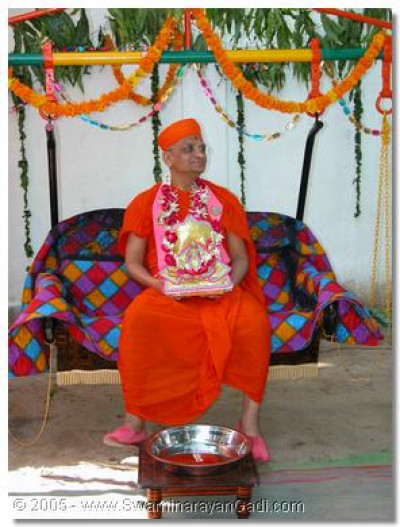 Acharya Swamishree gives darshan seated on a swing