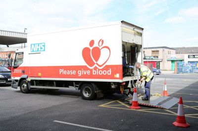 The NHS blood donation truck and NHS staff arrives at Shree Swaminarayan Mandir Bolton