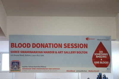 The Blood Donation Session at Shree Swaminarayan Mandir & Art Gallery Bolton