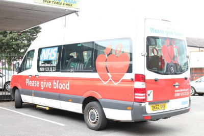 The NHS blood donation van arrives