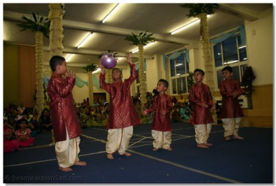 Young boys with ball dance routine.