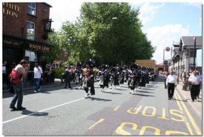 Shree Swaminarayan Gadi Pipe Band perform at the Manchester Parade