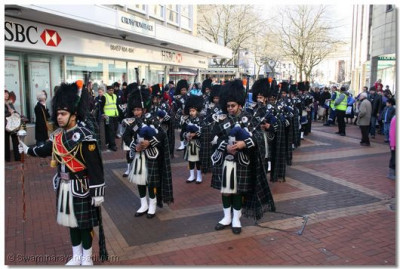 Shree Swaminarayan Gadi Pipe Band performs in Bolton Town Centre