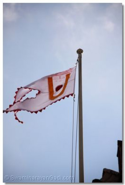 The view of the new flag at Shree Swaminarayan Temple Bolton