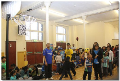 Participants take part in basketball.