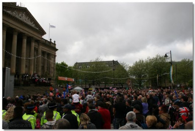 Crowds gathered at Victoria Square, Bolton