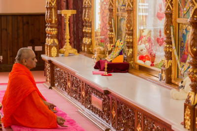 His Divine Holiness Acharya Swamishree meditates on the divine form of Lord Shree Swaminarayan