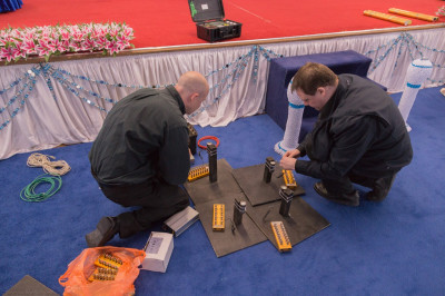 The pyrotechnics team prepare the indoor firework sequences