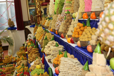 A close up of the huge range of sweet and savoury items prepared and beautifully arranged