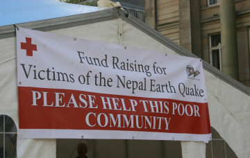 Disciples of Swaminarayan Mandir Bolton collect for Nepal Earthquake