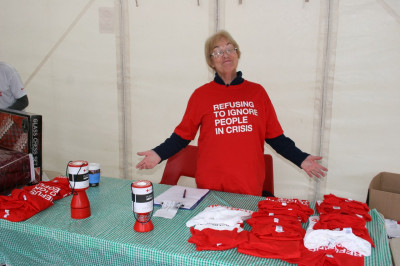 Fundraiser selling British Red Cross T-Shirts