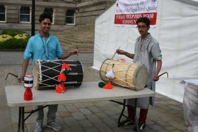 Disciples play the Dhol to rasie awareness of the Nepal Earthquake