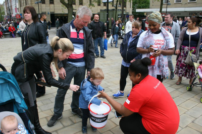 British Red Cross Foundation fundraiser collecting donations for Nepal Earthquake victims