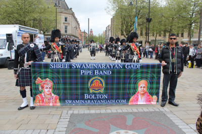 Shree Swaminarayan Gadi Pipe Band perform and march through the streets of Bolton to the delight of members of the public
