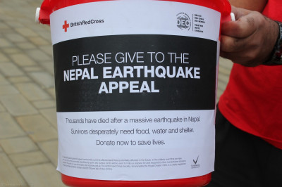 Disciple collecting donations for victims of Nepal Earthquake