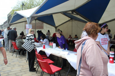 Members of the public enjoy the stalls and activities available to raise money