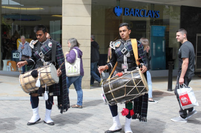 Dhol academy perform for public to collect donations for Nepal Earthquake victims