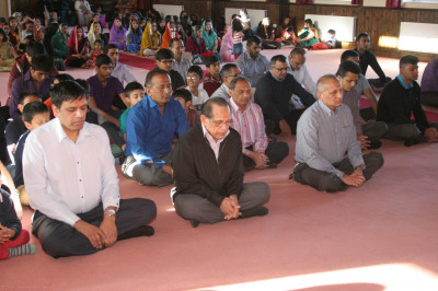 Disciples of Shree Swaminarayan Mandir Bolton meditate to Lord Shree Swaminarayan and pray for the peace of all affected