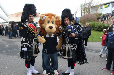Official mascot with the band