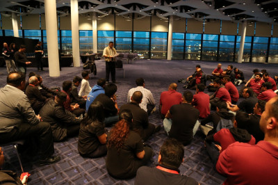 The performer's team briefing on arrival in the grand hall at Wembley Stadium