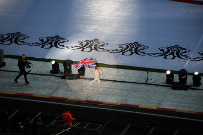 The child carrying the UK flag
