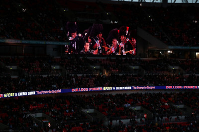 Shree Muktajeevan Swamibapa Pipe Band London and Bolton and Dhol Academy on the big screen