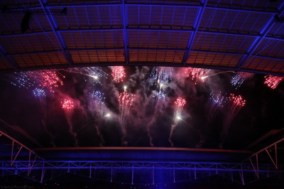 A spectacular fireworks display marks the conclusion to this historical event