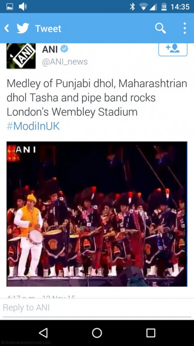 One of the many tweets from national and international press, MPs, dignitaries, organisations and disciples on UK Welcomes Modi performances of Shree Muktajeevan Swamibapa Pipe Band London, Bolton and Dhol Academy