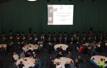 Shree Swaminarayan Gadi Pipe Band Bolton perform at FA cup match