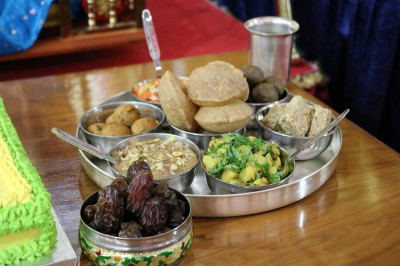 Various sweet and savoury dishes are offered to the Lord