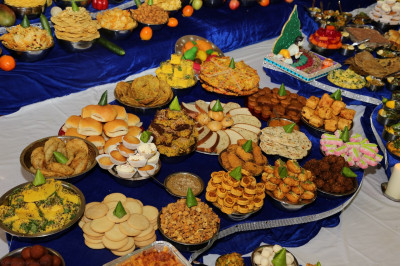 A huge variety of sweet and savoury dishes are offered to the Lord