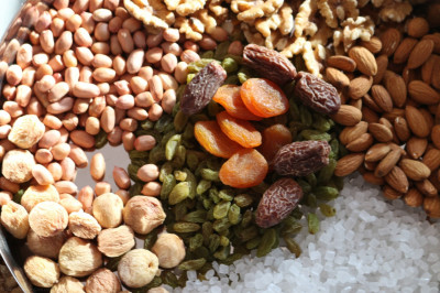 Dried fruits and various nuts are offered to the Lord