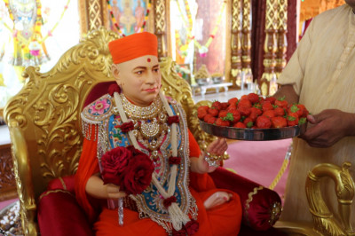 Strawberries are offered to Jeevanpran Shree Muktajeevan Swamibapa
