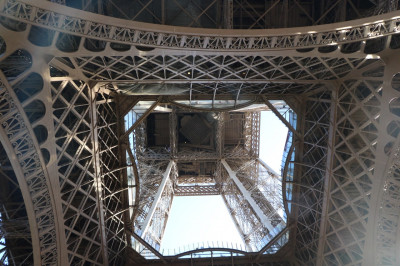The view of the Eiffel Tower from the base