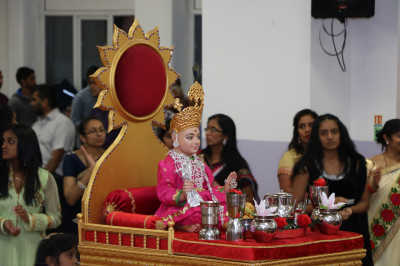 Divine darshan of Lord Shree Swaminarayan with the shinny stainless steel utensils