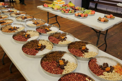 The plates of fruits, nuts, and other gifts presented to the Lord