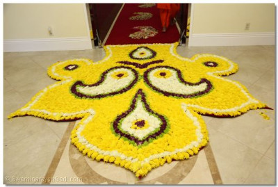 Disciples had made a beautiful rug with fresh flowers
