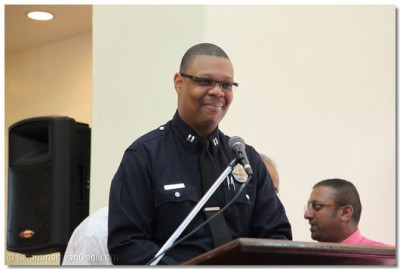 LAPD Van Nuys Captain and Cheif Officer gives a speech welcoming the temple to the Van Nuys community and family