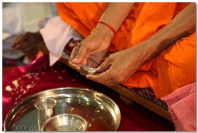 Acharya Swamishree holds water contained miniature ladle during the yagna ceremony