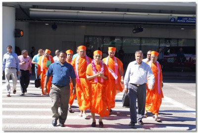His Divine Holiness Acharya Swamishree Leaving LAX Airport with Disciples