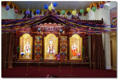 Sinhasan Decorated for Hari Jayanti Birthday Celebration