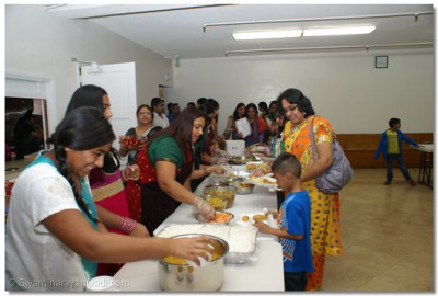 Devotees were offered Mahaprasad at the end of celebration