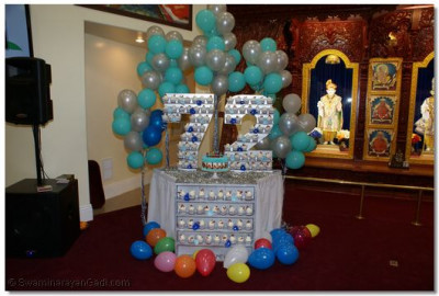 Acharya Swamishree's Birthday decoration using 72 cupcakes