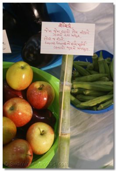 Vegetables laid out with their specialty and Message related to it
