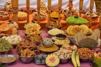 The huge variety of sweet and savoury items forming the annakut